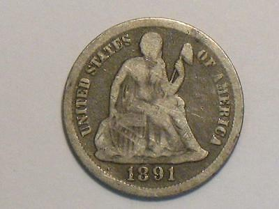 1891 Seated Liberty Dime - 90% Silver - Old Us Coin