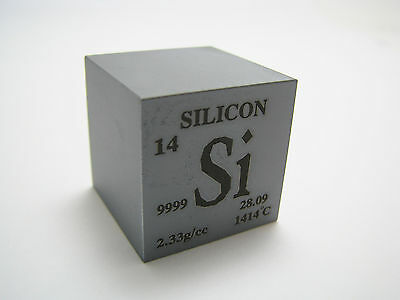 1 inch 25.4 mm Pure Silicon metal element cube periodic table 99.99% pure 38 g