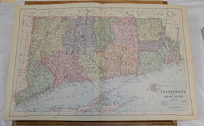 1885 Antique Map // CONNECTICUT AND RHODE ISLAND // 12x18""