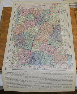 """1885 Antique Map // VERMONT AND NEW HAMPSHIRE // 12x18"""""""