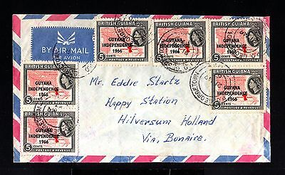 13109-GUIANA-AIRMAIL COVER GEORGETOWN to HILVERSUM (holland)1966.BRITISH.aereo.