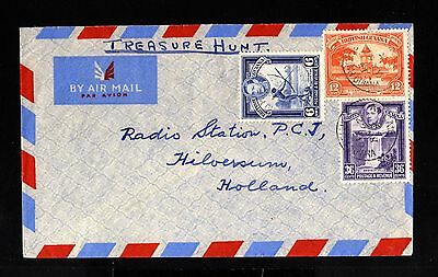 13004-GUIANA-AIRMAIL COVER GEORGETOWN to HILVERSUM (holland)1951.BRITISH.aereo.