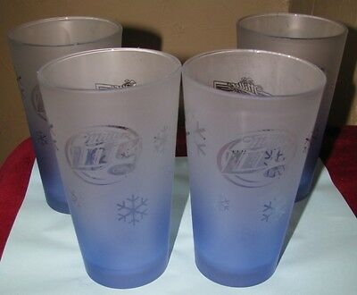4 Miller Lite Genuine Draft Blue Frost Snowflake Libbey Beer Glass Tumblers LOT