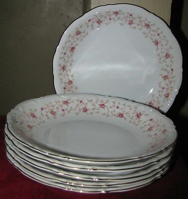 6 Soup Pasta Bowls Mitterteich Lady Claire Pink Chintz Rose Wedding China VTG