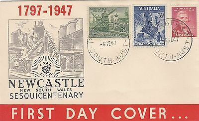 Stamps Australia 1947 Newcastle NSW Sesquicentenary set of 3 on Wide World FDC