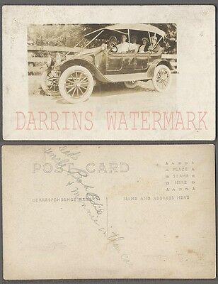 Vintage Car Photo Postcard Family in Automobile Notes 709020