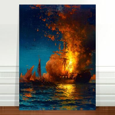 Edward Moran Burning of the Philadelphia ~ FINE ART CANVAS PRINT 8x10""