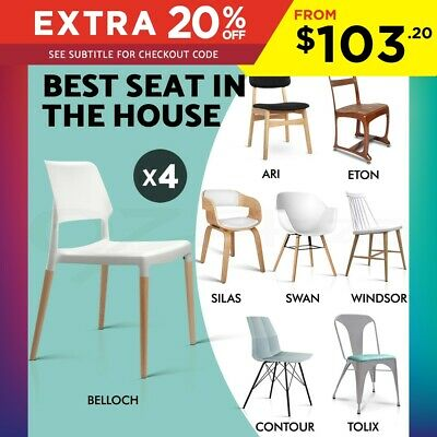 4x Dining Chairs Replica Tolix Industrial Kitchen Café Bar Metal Wooden