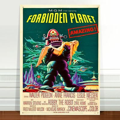 "Vintage Sci-fi Movie Poster Art ~ CANVAS PRINT 16x12"" Forbidden Planet"