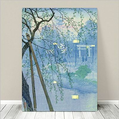 "Beautiful Japanese Landscape Art ~ CANVAS PRINT 8x12"" ~ Pond on foggy evening"