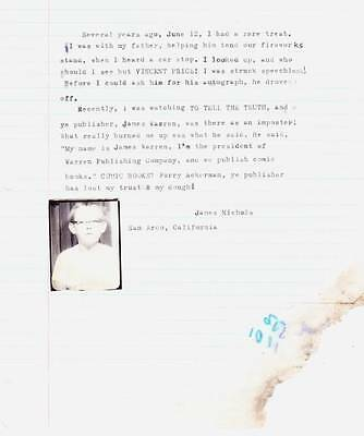 Vintage 1960s FAMOUS MONSTERS letter to FORREST ACKERMAN from James Nichols.