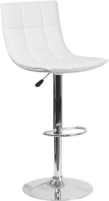 Flash Furniture Contemporary White Quilted Vinyl Adjustable Height Barstool
