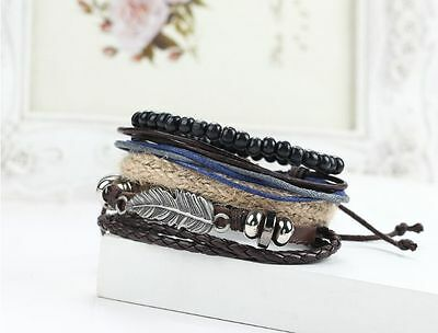 Men's Braided Leather Stainless Steel Cuff Bangle Bracelet Wristband Cool Style