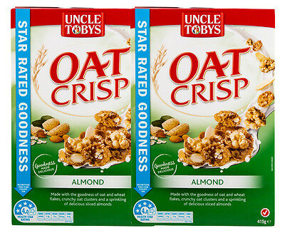 2 x Uncle Tobys Oat Crisp Cereal Almond 415g