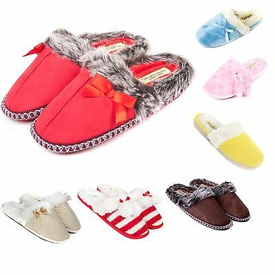 Ladies & Girls Luxury Slip On Slippers Size 3 to 8 UK - WARM FAUX FUR LINED