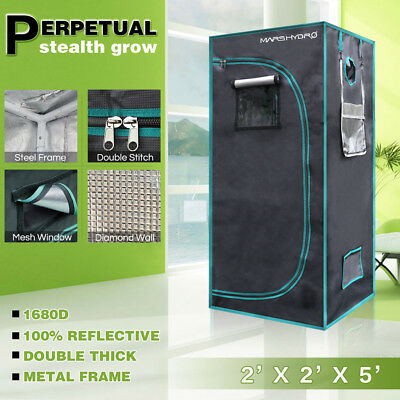 "27""x27""x63"" Hydroponic Indoor Grow Tent Dark Room Box Cabinet Reflective Mylar"