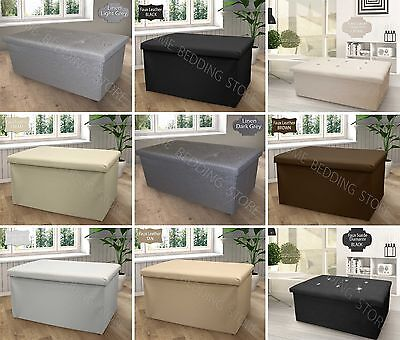 Double Large 2 Seater Ottoman Storage Box Faux Leather Folding Pouffe Seat Stool