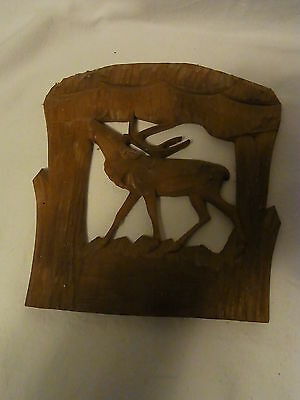 Vintage German Carved Wood Wall Ornament Deer Black Forest #D