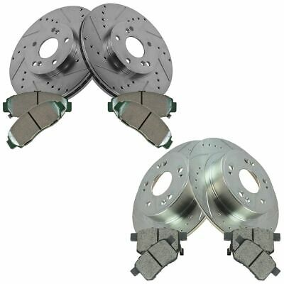 Front Rear Ceramic Disc Brake Pad & Performance Drilled Slotted Zinc Coated Kit