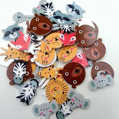 50pcs Mixed Animals Flat Back Wooden Buttons for Sewing Knitting Art Crafts