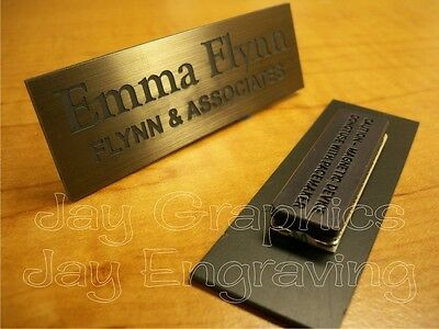 Custom Engraved 1x3 Brushed Bronze Name Tag | Badge & Magnet | Employee Magnetic