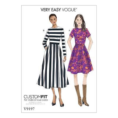 Vogue Sewing Pattern Very Easy Misses' Dress Size 6 To 22 V9197