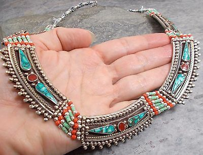 Large Nepal Tibet Silver TURQUOISE RED CORAL Collar Tribal Necklace N557