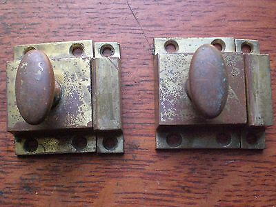 Two Antique Vintage Cast Brass Victorian Hoosier Cabinet Latches