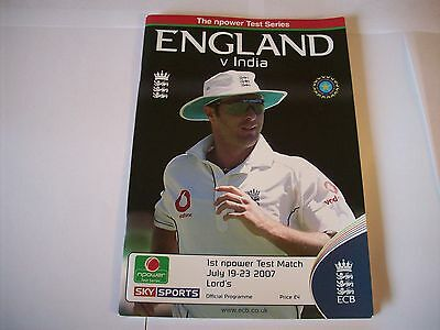 ENGLAND V INDIA 2007 TEST PROGRAMME SIGNED BY SIX - PIETERSEN, BELL ETC w/ C.O.A