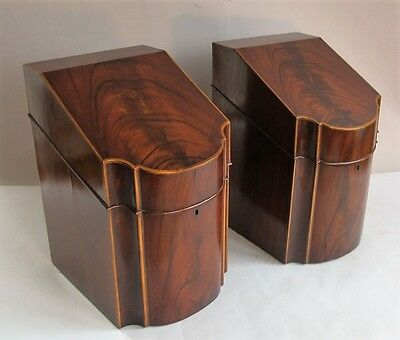 Fine Pair of 18th C. ENGLISH MAHOGANY KNIFE BOXES  c. 1780  Original Interiors