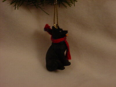 GERMAN SHEPHERD dog HAND PAINTED ORNAMENT Resin Figurine BLACK puppy CHRISTMAS