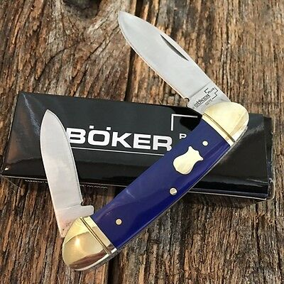 "BOKER PLUS 3 5/8"" Canoe Pocket Knife BLUE Handles NEW Vintage Style BO235BL"