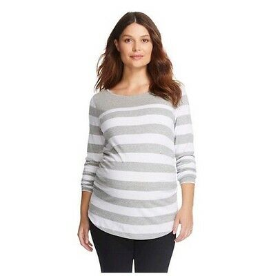 New with tags Women's Liz lange Maternity Top t-shirt Stripe gray white Large