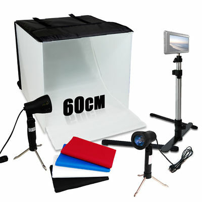 "Photo Studio 24"" Photography Light Tent Backdrop Kit 60cm Cube Lighting In A Box"