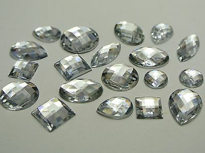 100 Clear Color Flatback Acrylic Rhinestone Gems No Hole Assorted Shape