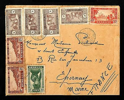 13316-SENEGAL-OLD COVER DAKAR to EPERNAY (france)1940.WWII.FRENCH colonies.A.O.F