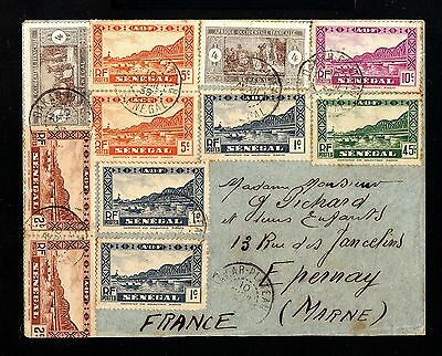 13317-SENEGAL-OLD COVER DAKAR to EPERNAY (france)1939.WWII.FRENCH colonies.A.O.F