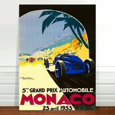 "Vintage Car Race Poster Art ~ CANVAS PRINT 36x24"" ~ Monaco Grand prix 1933"