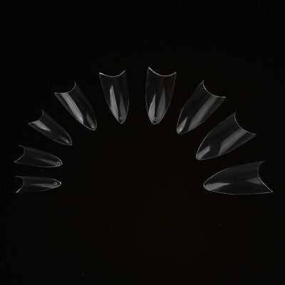 Clear French Stiletto Fake False Nail Acrylic Tips Nail Art Pack of 500