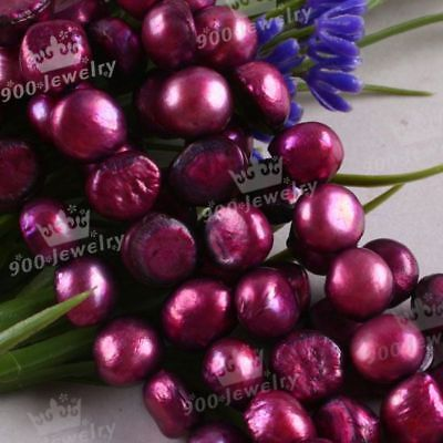 "9-10Mm Cultured Freshwater Purple Pearl Beads 15""l"
