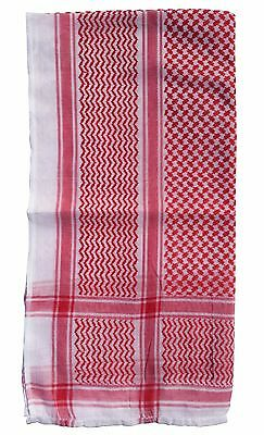 Islamic Clothing White and Red Cotton Arab Kefiyyeh Scarf For Men Arafat Shemagh