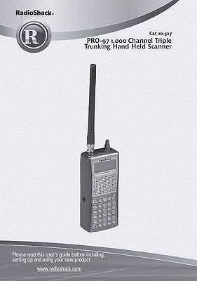 RadioShack PRO-97 CD OWNER'S MANUAL 20-527 Radio Scanner Book on CD