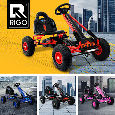 Rigo Ride On Car Pedal Go Kart Toys Racing Bike Cars Rubber Tyre Pink Blue Black