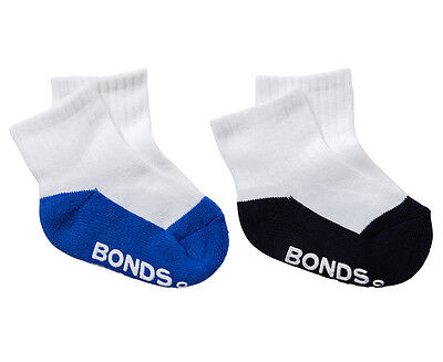 Bonds Baby Size 00-1 Logo Quarter Crew Socks 2-Pack - White/Blue