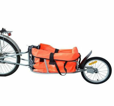 Single Wheel Bicycle Bike Cargo luggage Trailer Cart Carrier Orange 30kgs