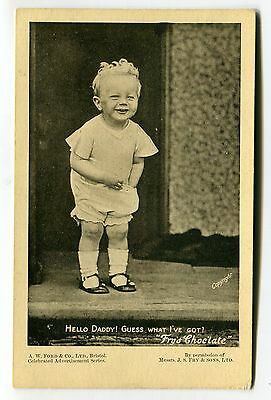 Fry's Chocolate, Bristol - little boy - advertising postcard with info on back