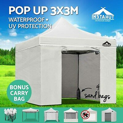 Instahut 3X3M Outdoor Gazebo Folding Marquee Tent Canopy Pop Up Party White