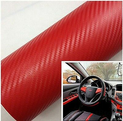 3D Red Carbon Fibre Vinyl Wrapping Car Phones Laptop Game Funitures 50cm x1.52m