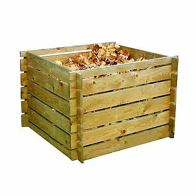 113 x 70 cm Square Wood Garden Compost Bin Recycling Waste Outdoor Rubbish New