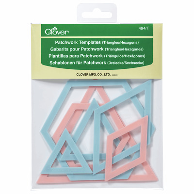 Patchwork Templates Set Of 7 Triangles & Hexagons Shows Seam Line & Cutting Edge